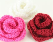 CLEARANCE SALE - Set of 3 Small Rose Hair Clips -White, Watermelon, Autumn Red -OOAK- Ready To Ship -  Newborn Infant Toddler Crochet