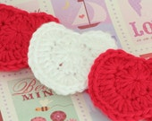 CLEARANCE SALE -  Heart Headband Narrow Band In Red and White Valentines Toddlers - 1-3 Years- OOAK Ready To Ship - Handmade & Crocheted