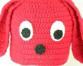 Clifford The Big Red Dog Hat All Sizes Newborn-Adult Handmade & Crocheted Crochet