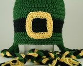 CLEARANCE SALE - Lucky Leprechaun Hat With Eaflaps and Braided Ties Green, Black and Yellow - Preteens/Teen -Ready To Ship -Crocheted