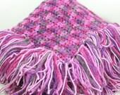Fringe Blanket Newborn/Infant/Baby Swaddle/Receiving/Lap/Crib Dark Light Purple Black -OOAK-  Ready To Ship Crochet