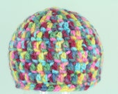 CLEARANCE SALE -  Baby Boy/Girl Hat Newborn/Infant/Baby - Hot Pink Teal Yellow Navy Multi -OOAK- One Of A Kind Ready To Ship Crochet