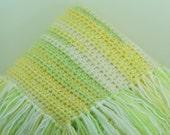 Fringe Blanket Newborn/Infant/Baby Swaddle, Receiving/Lap/Crib Yellow, White Light Green -OOAK- Ready To Ship Crochet