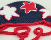 CLEARANCE SALE - Stars Hat With Earflaps/Ties - Red/White/Blue - Patriotic/America - Toddlers 1-3 Years - Ready To Ship