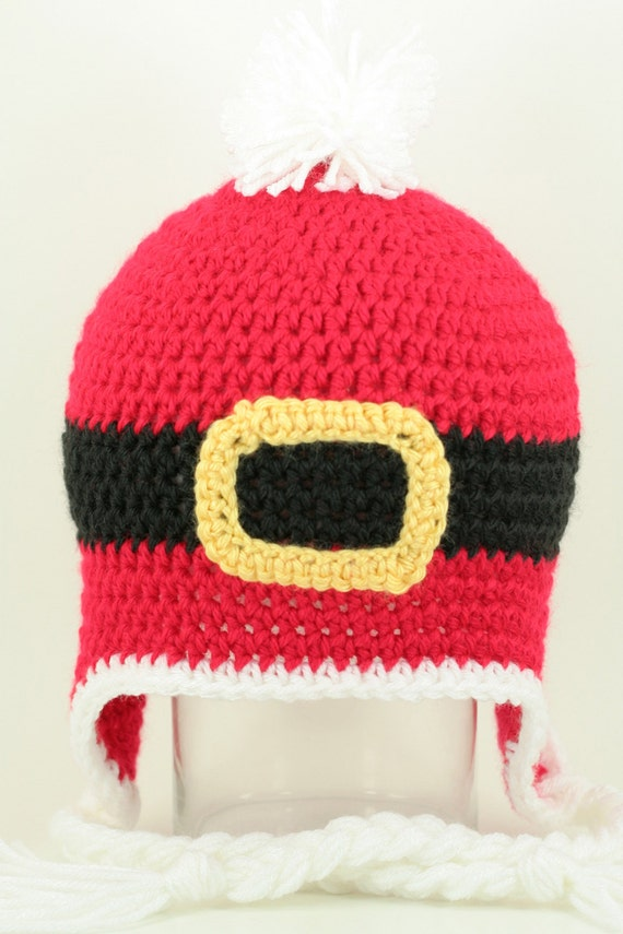 CLEARANCE SALE - The Santa Suit Hat With Eaflaps and Braided Ties Christmas 1-3 Years Toddler Child -Ready To Ship - Handmade & Crocheted