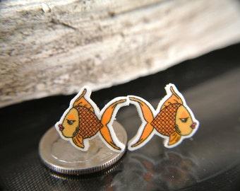 Cute Goldfish earrings-Digitally Hand drawn