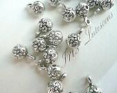 Silver Pendant Bead, tibetan silver bead, silver charm bead, ball charms