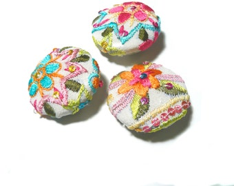 Covered button, embellished buttons, covered buttons, embroidered covered buttons