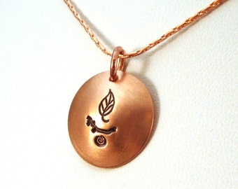 Nature Chalice Necklace / Unitarian Universalist Necklace / Copper Necklace / UU Nature Chalice Necklace / Hand Stamped Jewelry