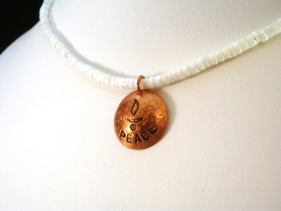Unitarian Necklace - Peace and UU Chalice on White Heishi