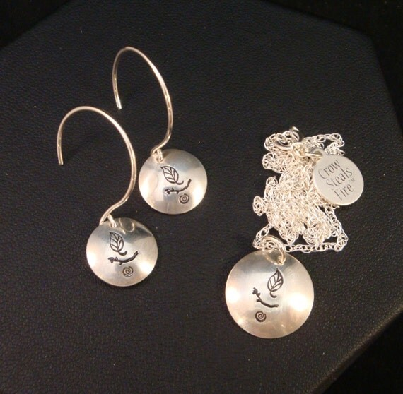Necklace and Earrings Set - Nature UU Chalice in Sterling Silver