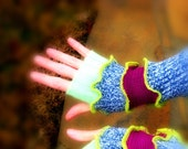 Blue, lime green, and magenta arm warmers