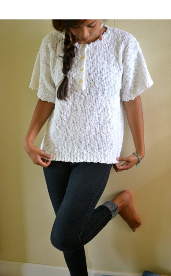 Vintage Sweater, short sleeve button- up