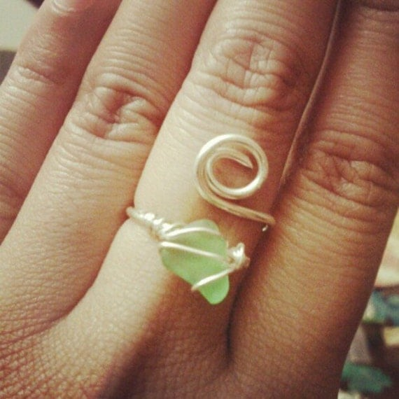 wire wrapped sea glass ring