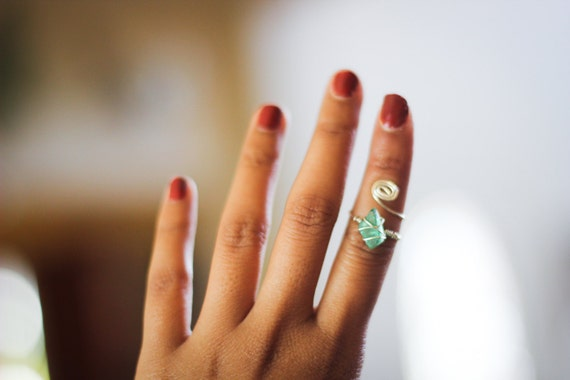 sea green wire wrapped ring