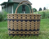 Lg. Shopper's Tote - Handwoven basket with navy accent- stained using my own stain made from pecan shells -
