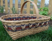 Large Williamsburg Market Basket  Handwoven in Blue and Brown - stained using my own stain made from pecan shells -