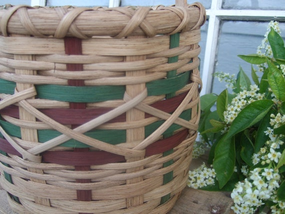 Pea- Picking Bucket - Handwoven Basket  in brown and green
