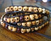 Carved Wood Skull 4X Leather Wrap Bracelet - Unisex