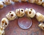 Carved Bone Skull beads - 11x12 mm strand of 35
