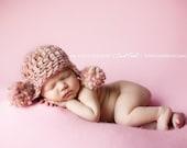 Handmade Newborn Photography Prop - Pom Pom Ear Flap
