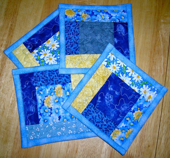 Quilted Coasters: Blue and Yellow Patch (Set of 4)