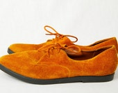 1980s Suede Lace Up Brown Leather Spectator Shoes Sz 8.5 8 1/2