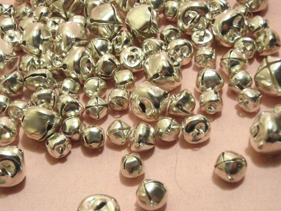 100 Assorted Silver Vintage Jingle Bells