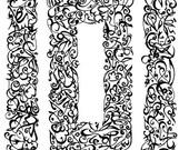 reduced  Hand Scribed Arabic Calligraphy: Assalamu Alaik       PRINT           BLK or BLU