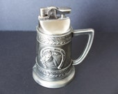 Vintage Stein Shaped Pewter Look Horse Head and Shoe Table Top Lighter