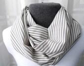 Grey & White Stripe Cotton Infinity Scarf