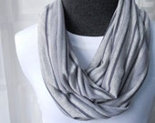 Infinity Scarf Several Shades of Grey Striped - Jersey Infinity Scarf - Striped Scarf