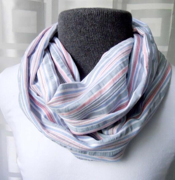 Infinity Scarf Denim & Pink Seersucker Lightweight Cotton, Striped Scarf