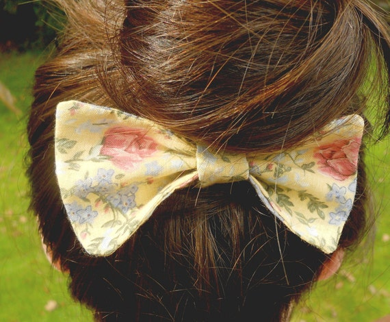 Large Fabric Hair Bow Yellow Floral - Hair Clip