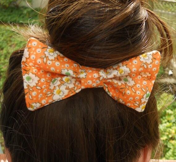 Large Fabric Hair Bow Orange Mod Floral - Hair Clip