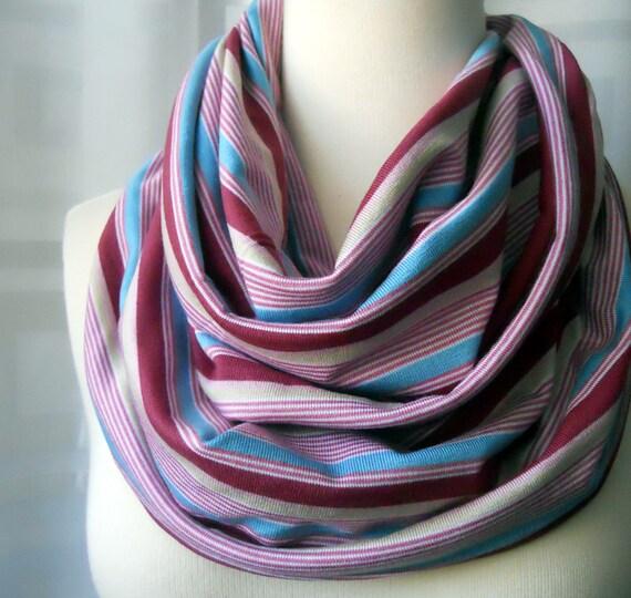 SALE - Purple Striped Infinity Scarf Jersey - Extra Wide