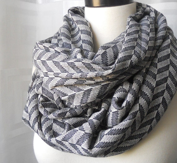 Infinity Scarf Arrows - Gray and Black - Super Wide - Oversized Scarf