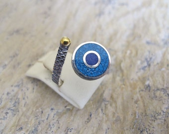 Evil Eye Silver Ring with Lapis Lazuli and Turquoise(on vacation)