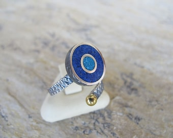 Evil Eye Silver Ring with Lapis Lazuli and Turquoise