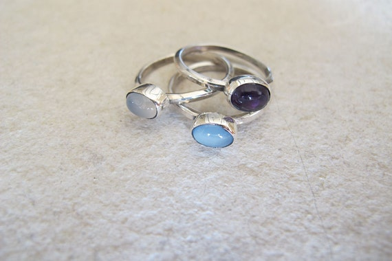 Amethyst,Moonstone,Chalcedony Stacking Rings Set of 3 Sterling Silver Bands