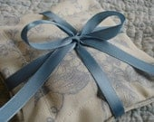 Lavender Sachets -Set of 2 Blue and Cream Floral Sachets tied w/ Blue Satin Ribbon, (gifts under 15 dollars)