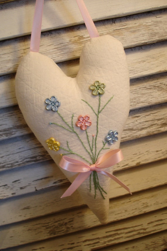 Hanging Heart with Pastel Floral Button Posy