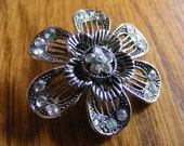 Silver Flower Shaped Brooch/Pin-Rhinestone Accents