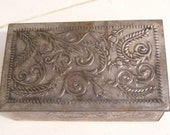 Tin Box-Scrollwork of Tulips and Leaves-Made in Western Germany