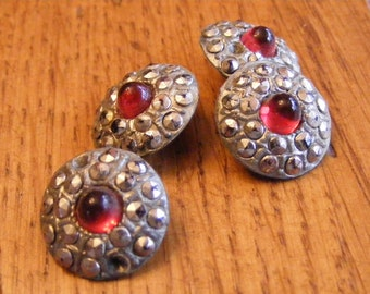 Vintage Sparkly Silver Buttons with Red Stone centers-Unique