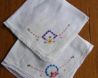 Vintage Handkerchief Embroidered with Flowers-Set of Two