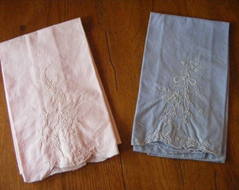Vintage Embroidered Handkerchieves-Pair