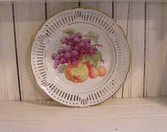 Plate with Fruit Decoration-Pear, Grapes and Peaches-Schrvarzenhammer-Made in Germany