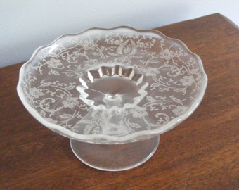 Etched Glass Footed Plate