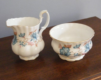 Royal Albert of England Creamer and Sugar Set-Blue Floral Pattern